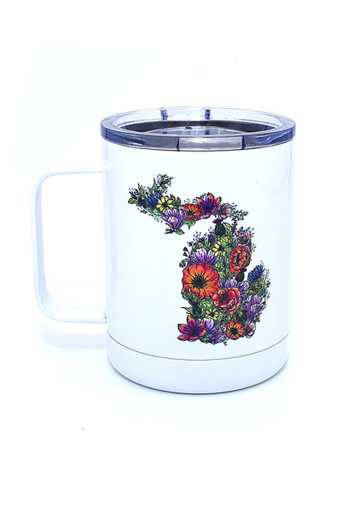 Flower MI White Lowball Mug by Northeast Print House