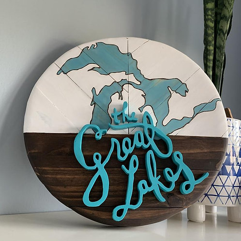 The Great Lakes Round Wood Sign