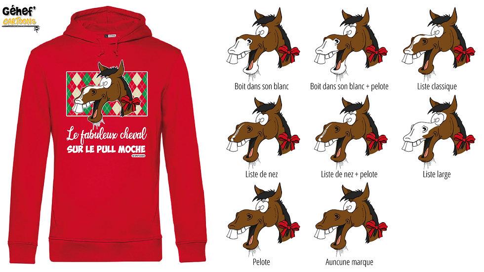 Sweat-shirt moche rouge à capuche - Cheval bai