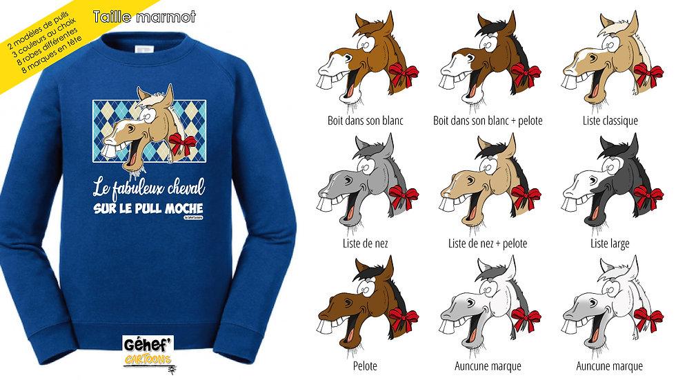 Enfant - Pull moche bleu col rond - Robe & marque au choix