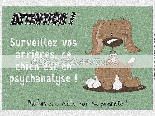 "Plaque CHIEN EN PSYCHANALYSE - Collection ""Coussinets"""