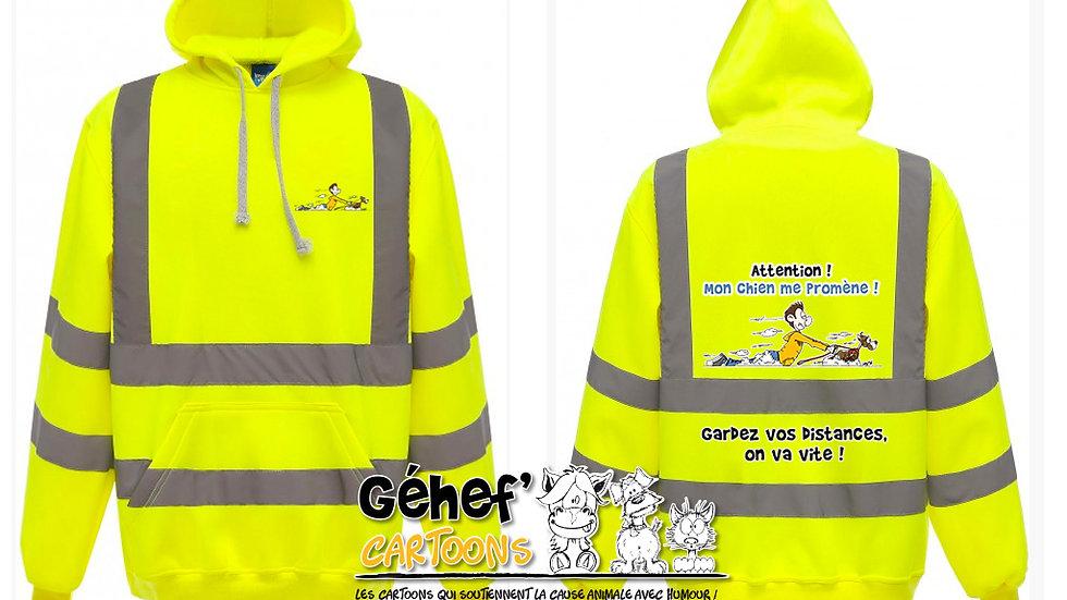 Sweat-shirt hoodie haute visibilité unisex - PROMENADE CHIEN - HVK05