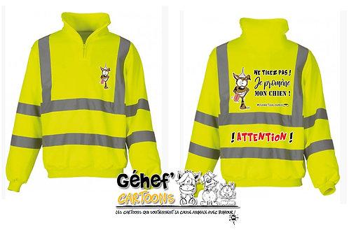 Sweat-shirt col zippé HV unisex - TIREZ PAS ! CHIEN - HVK06