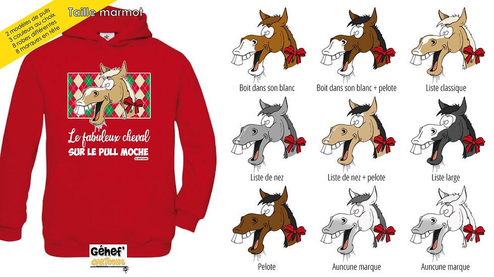 Enfant - Sweat moche rouge capuche - Robe & marque au choix
