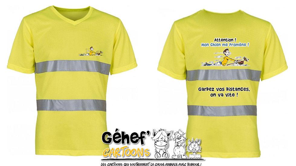 Tee-shirt col V haute visibilité unisex - PROMENADE CHIEN - HVJ910