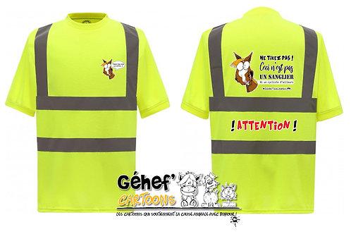 Tee-shirt col rond haute visibilité unisex - TIREZ PAS SUR LE CH'FAL- HVJ410