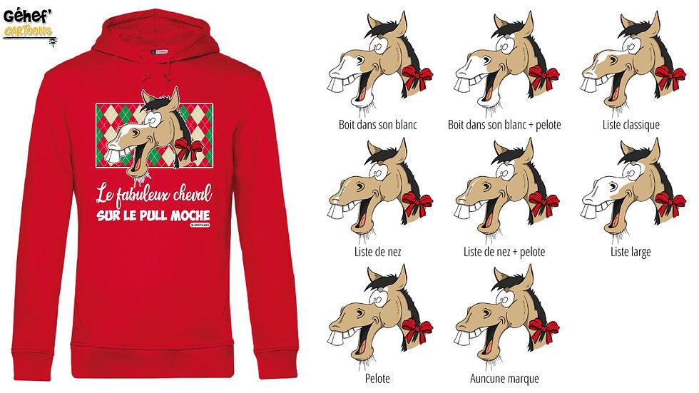 Sweat-shirt moche rouge à capuche - Cheval isabelle