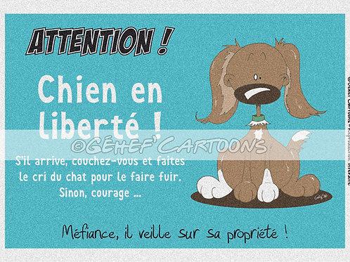 """Plaque CHIEN EN LIBERTÉ - Collection """"Coussinets"""""""