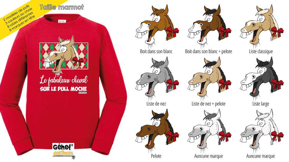 Enfant - Pull moche rouge col rond - Robe & marque au choix