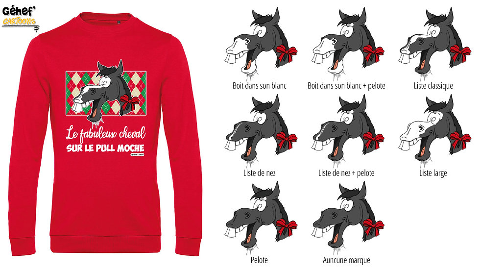 Pull moche rouge col rond - Cheval Noir