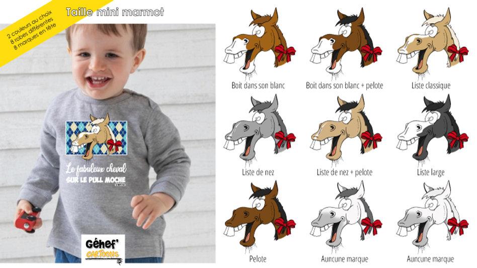 Bébé - Pull moche gris chiné col rond - Robe & marque au choix