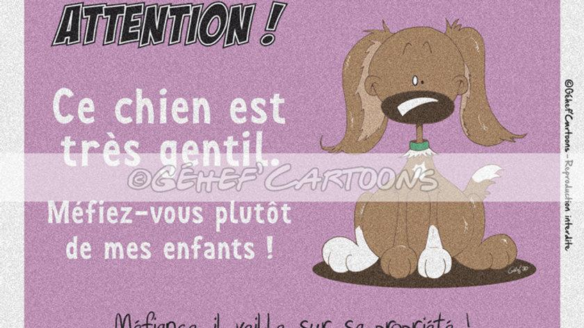 """Plaque CHIEN ENFANTS - Collection """"Coussinets"""""""