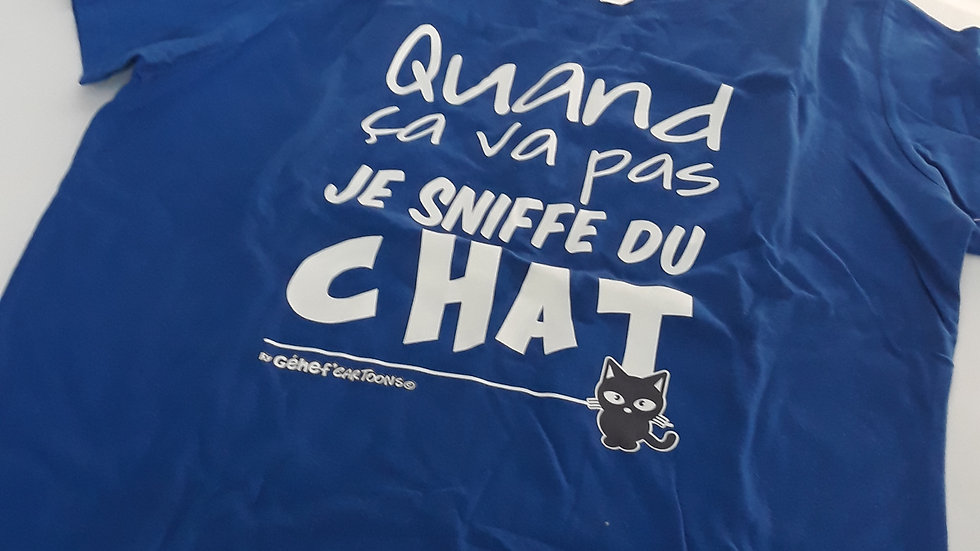 "Tee-shirt femme ""Sniffe du chat"" - Taille S"