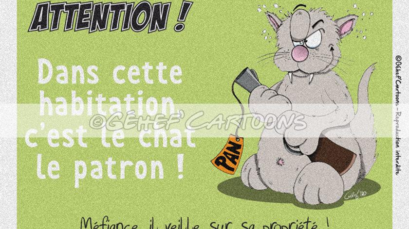 "Plaque CHAT PATRON - Collection ""Coussinets"""
