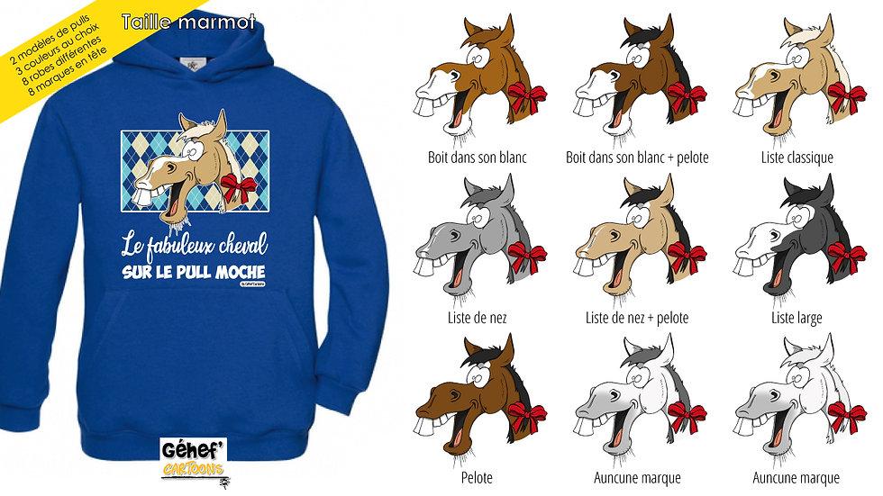 Enfant - Sweat moche bleu capuche - Robe & marque au choix