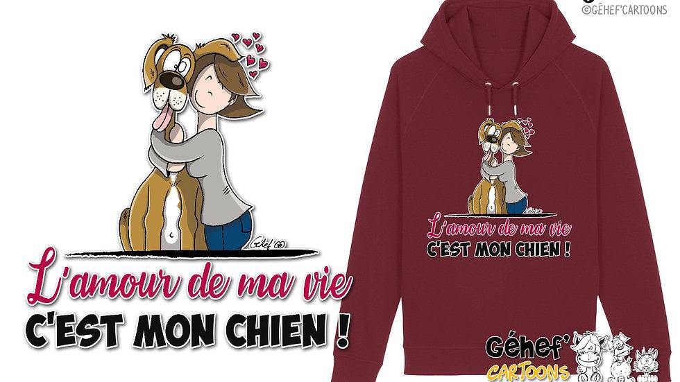 Sweat-shirt Unisex - AMOUR DE MA VIE chien-femme-célibataire- SS824