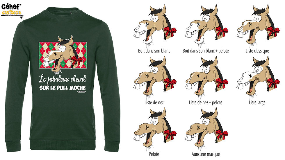 Pull moche vert col rond - Cheval isabelle