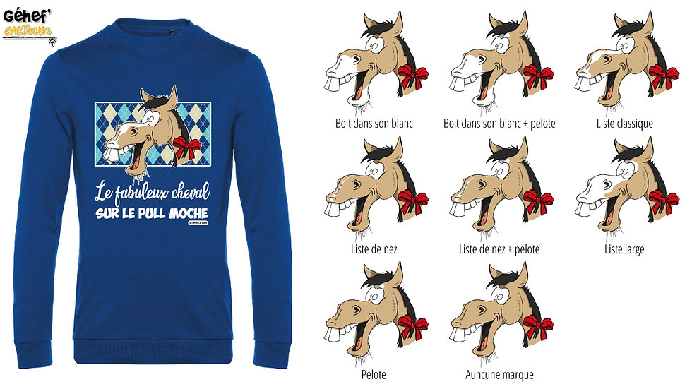 Pull moche bleu col rond - Cheval isabelle