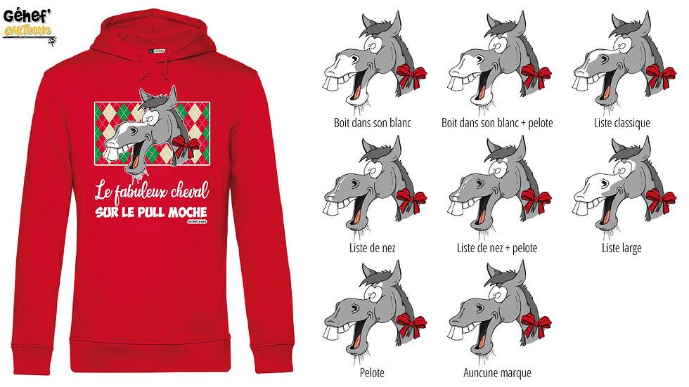 Sweat-shirt moche rouge à capuche - Cheval gris