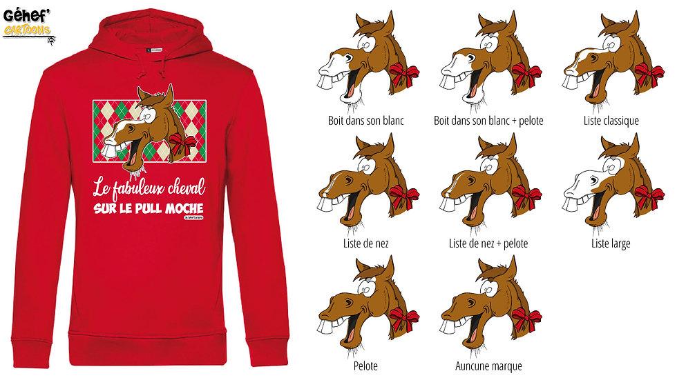 Sweat-shirt moche rouge à capuche - Cheval alezan