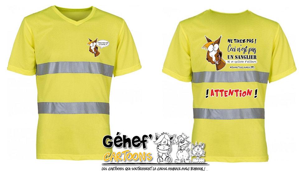 Tee-shirt col V haute visibilité unisex - TIREZ PAS SUR LE CH'FAL- HVJ910