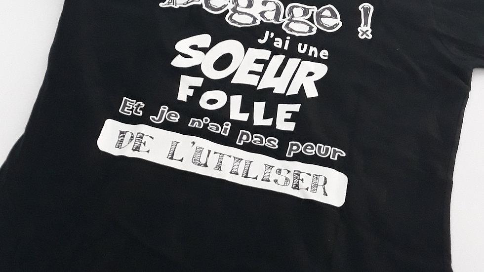 "Tee-shirt femme col V ""Soeur folle"" - Taille M"
