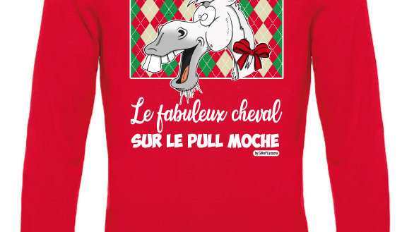 Pull moche rouge col rond - Cheval blanc/blanc