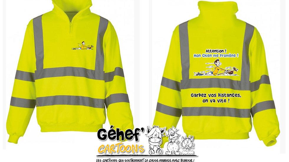 Sweat-shirt col zippé haute visibilité unisex - PROMENADE CHIEN - HVK06