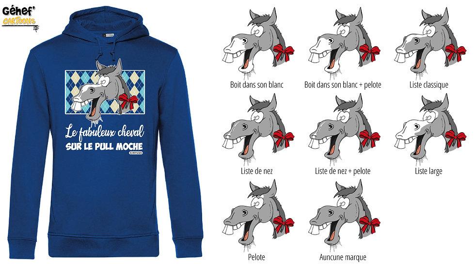 Sweat-shirt moche bleu à capuche - Cheval gris