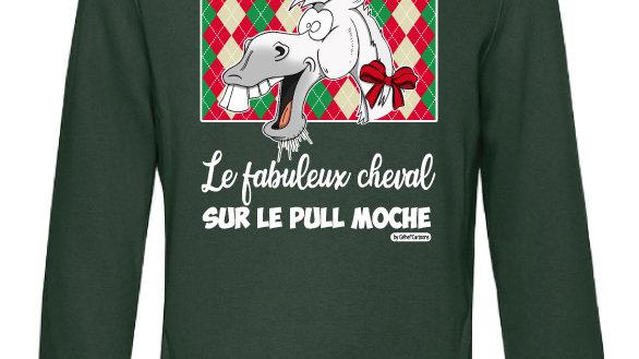 Sweat-shirt moche vert à capuche - Cheval blanc/blanc