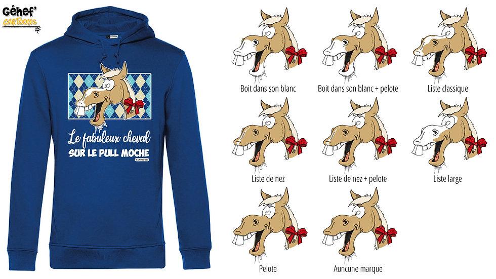 Sweat-shirt moche bleu à capuche - Cheval café au lait