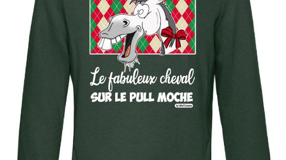 Sweat-shirt moche vert à capuche - Cheval blanc/gris