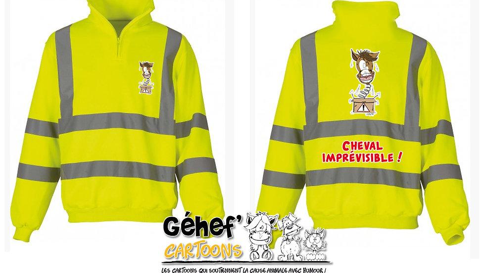 Sweat-shirt col zippé haute visibilité unisex - IMPRÉVISIBLE - HVK06