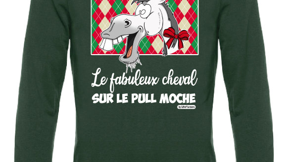 Pull moche vert col rond - Cheval blanc/gris