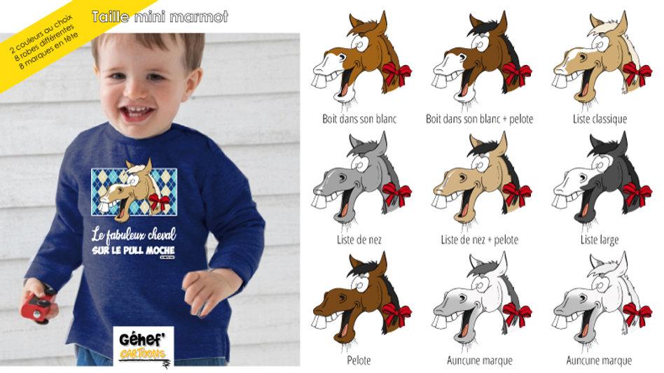 Bébé - Pull moche bleu marine col rond - Robe & marque au choix