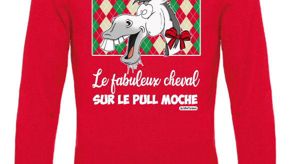 Pull moche rouge col rond - Cheval blanc/gris