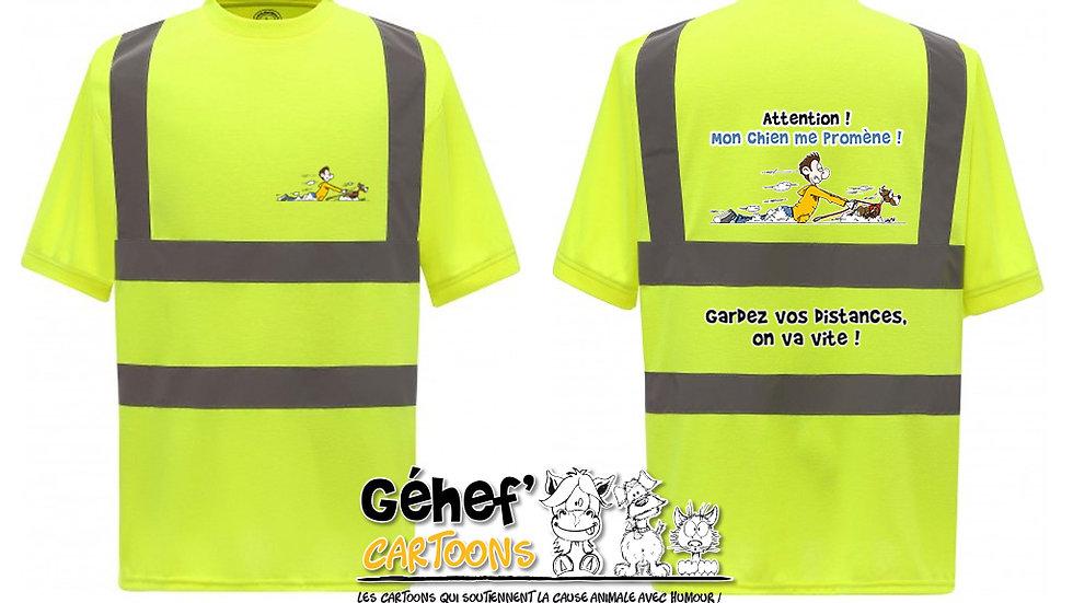 Tee-shirt col rond haute visibilité unisex - PROMENADE CHIEN - HVJ410