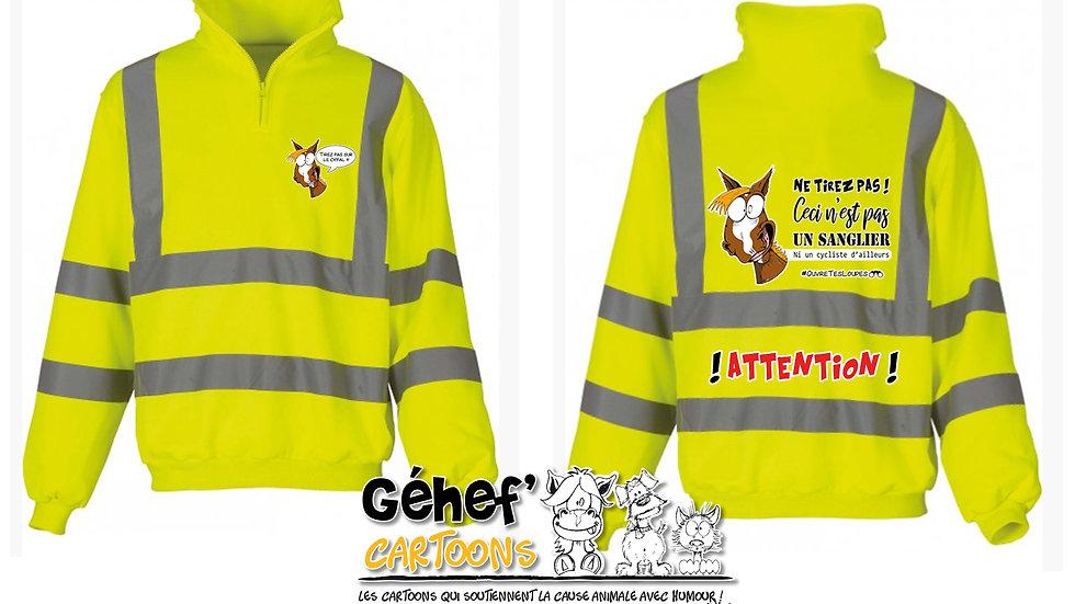 Sweat-shirt col zippé haute visibilité unisex - TIREZ PAS SUR LE CH'FAL- HVK06