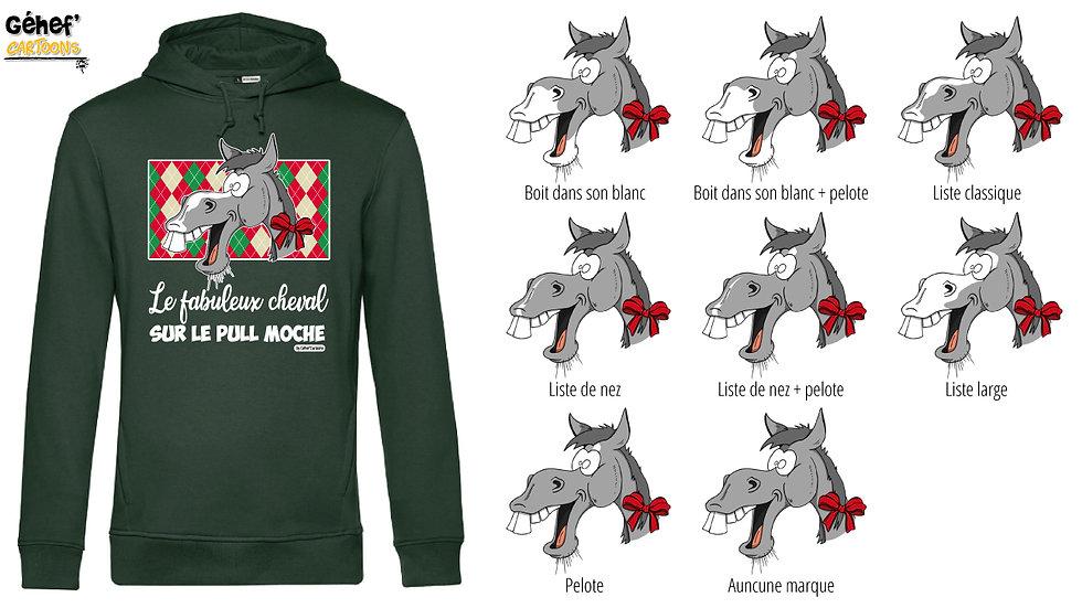 Sweat-shirt moche vert à capuche - Cheval gris