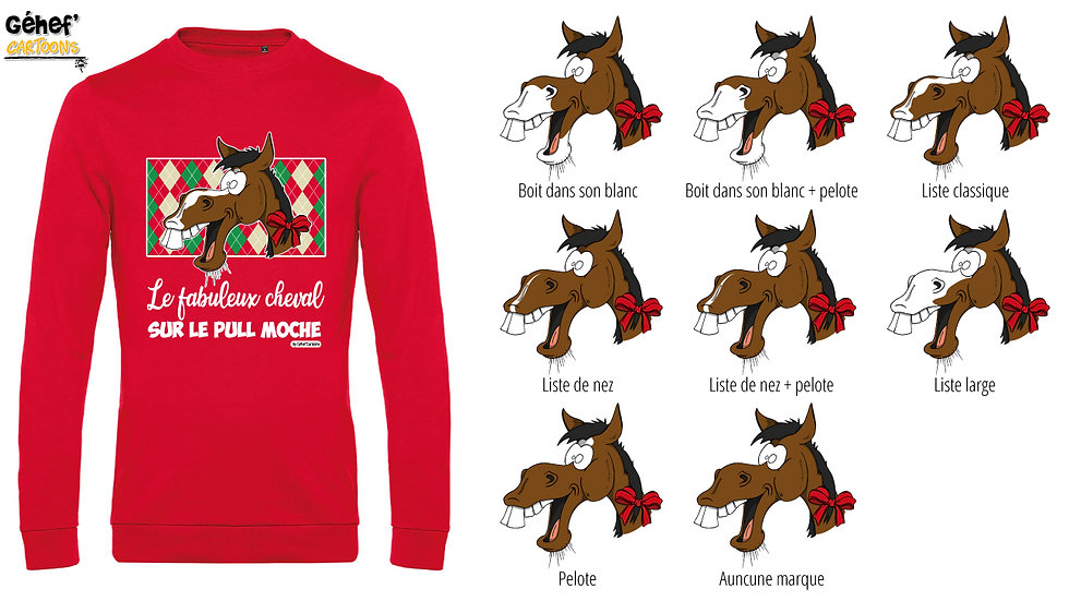 Pull moche rouge col rond - Cheval bai