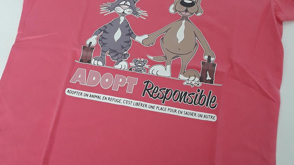"Tee-shirt femme bio/éthique ""Adopt Responsible"" - Plusieurs tailles"