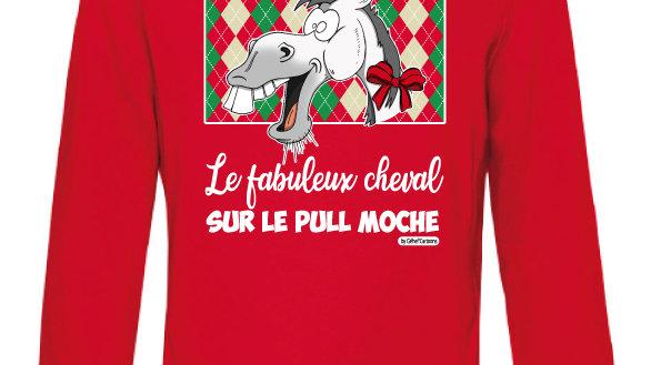 Sweat-shirt moche rouge à capuche - Cheval blanc/gris