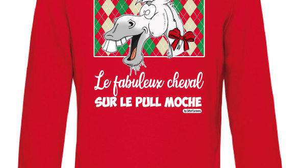 Sweat-shirt moche rouge à capuche - Cheval blanc/blanc
