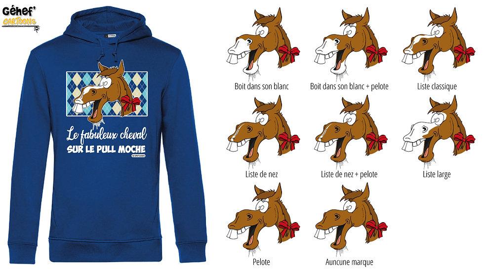 Sweat-shirt moche bleu à capuche - Cheval alezan