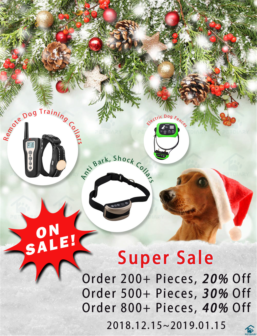 Petdiary Dog Training Collars Holiday Sale is On.