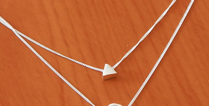 DOUBLE CHAIN NECKLACE WITH TRIANGLE AND ZIRCONIA