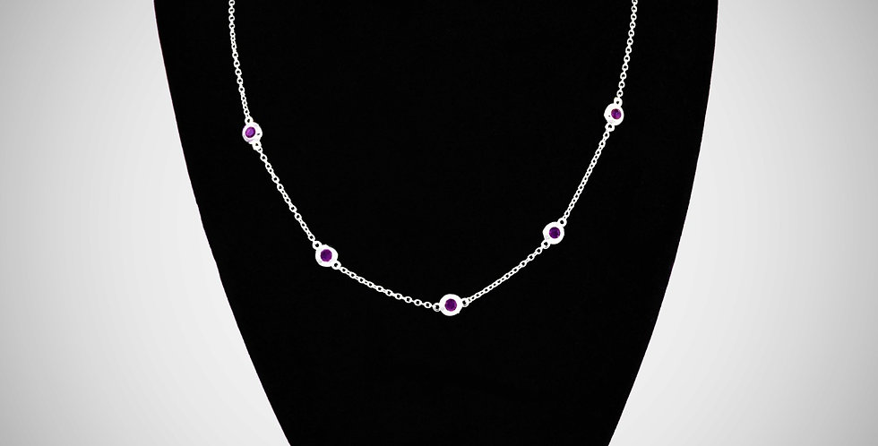 4MM CZ DONUTS CHAIN NECKLACE 18""