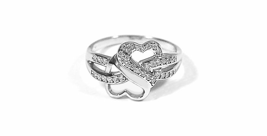 CZ DOUBLE HEART RING #8