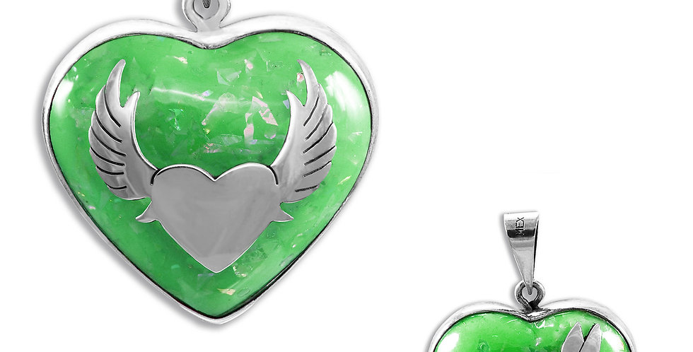 WINGS AND HUMMINGBIRD ANGELS CALLER HEART PENDANT 28MM
