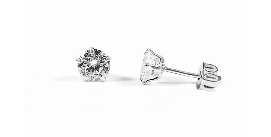 CZ ROUND EARRINGS 4MM
